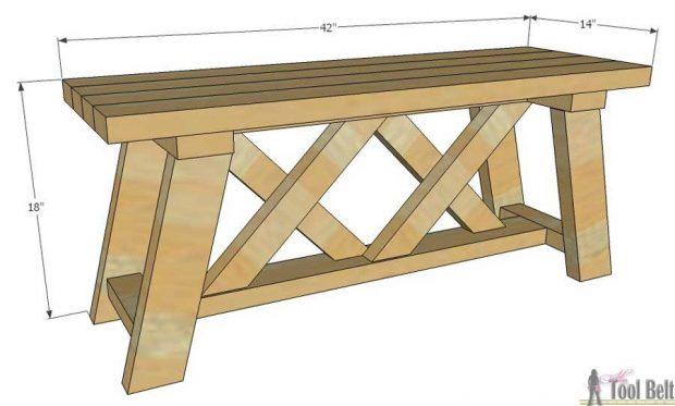 ספסל עץ ללא משענת